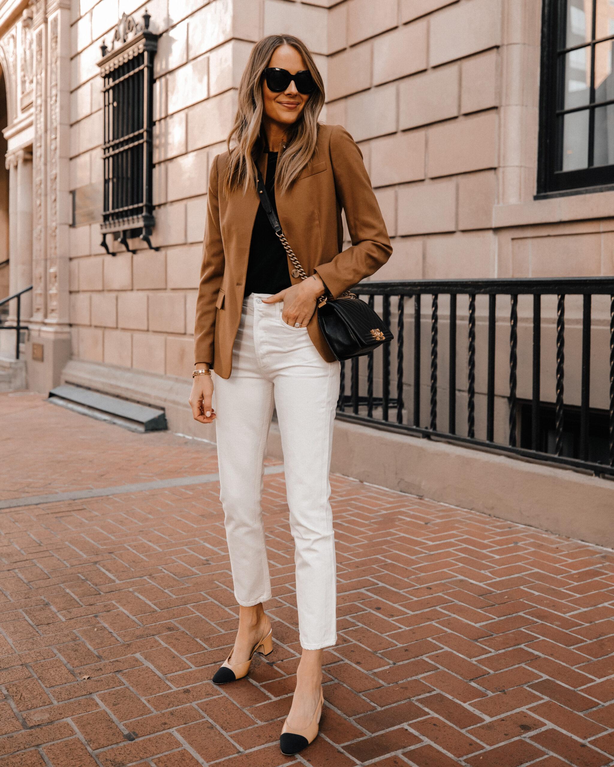 Fashion Jackson Wearing Jcrew Tan Blazer White Jeans Chanel Slingbacks Fall Workwear Outfit