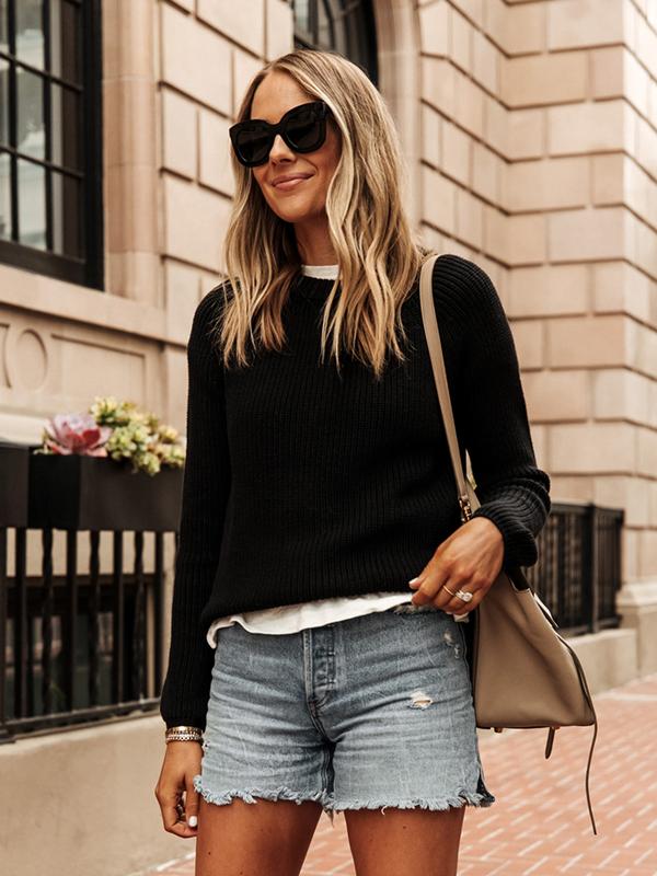 Fashion-Jackson-Wearing-Jenni-Kayne-Black-Fisherman-Sweater-White-Tshirt-Denim-Shorts-1
