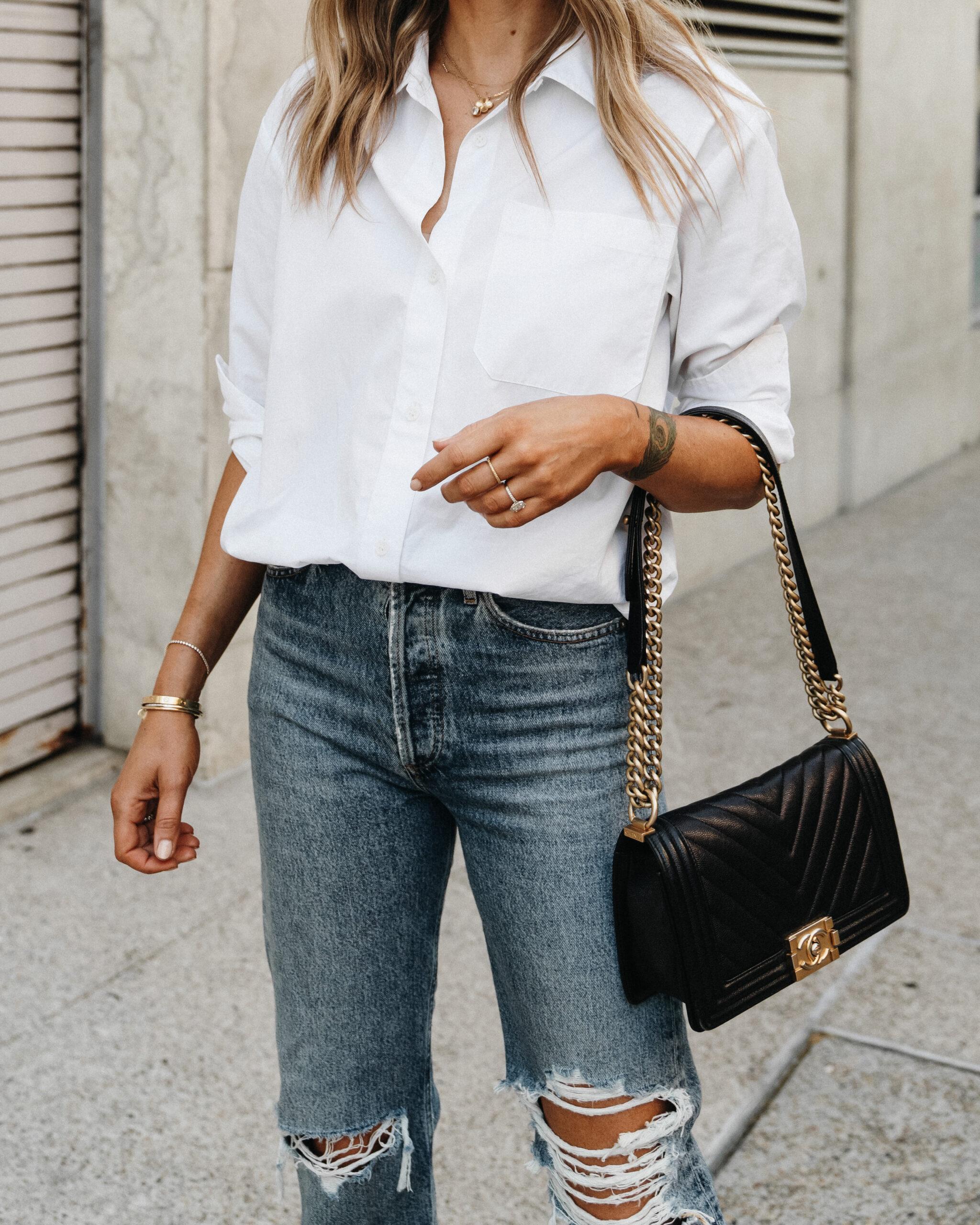 Fashion Jackson Wearing Jenni Kayne Boyfriend Button Down Shirt Ripped Jeans Chanel Black Old Medium Boy Bag