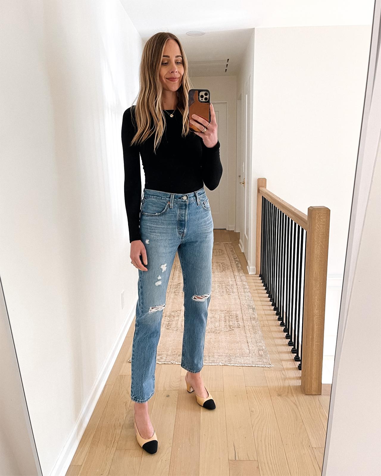 Fashion Jackson Wearing Levis 501 Original Fit Jeans Review Tango Light Black Bodysuit Chanel Slingbacks