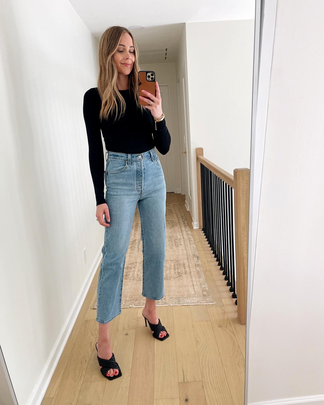 Fashion Jackson Wearing Levis Ribcage Straight Ankle Jeans Review Black Bodysuit Black Heeled Sandals