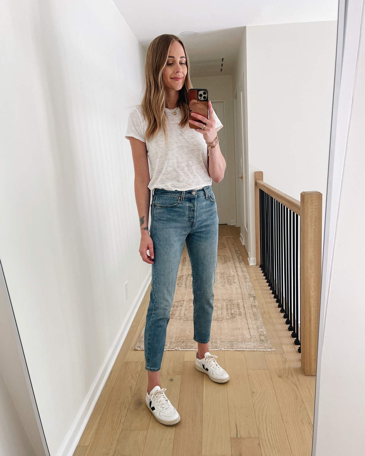 Fashion Jackson Wearing Levis Wedgie Icon Fit Jeans Review These Dreams White Tshirt Veja V10 Sneakers