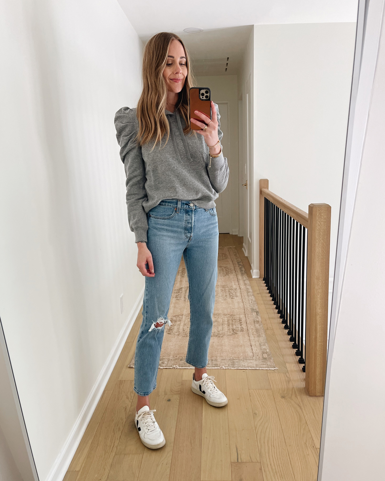 Fashion Jackson Wearing Levis Wedgie Straight Jeans Review Tango Fray Grey Puff Sleeve Sweatshirt Veja V10 Sneakers
