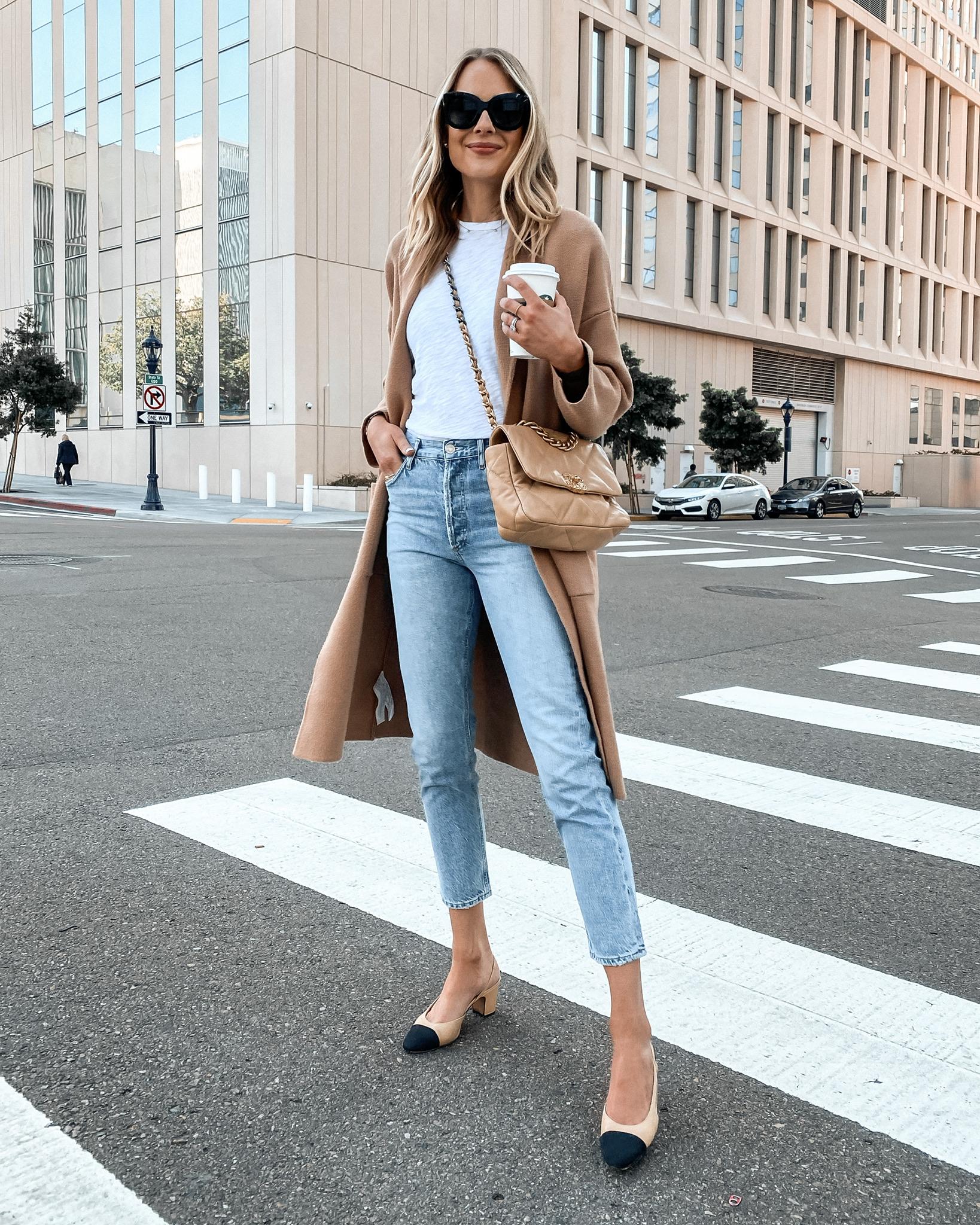 Fashion Jackson Wearing Mango Coatigan White Tshirt Levis Jeans Chanel Slingbacks
