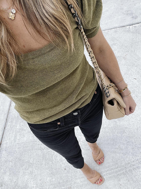 Fashion Jackson Wearing Olive Green Short Sleeve Sweater Levis Black Jeans Nude Heeled Sandals (1)