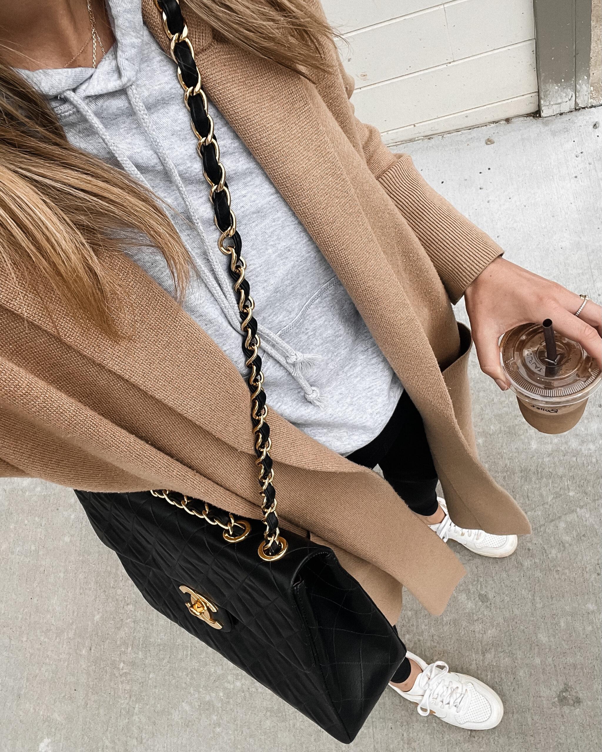 Fashion Jackson Wearing Camel Coatigan Grey Hoodie Sweatshirt Black Leggings Veja Sneakers Chanel Handbag