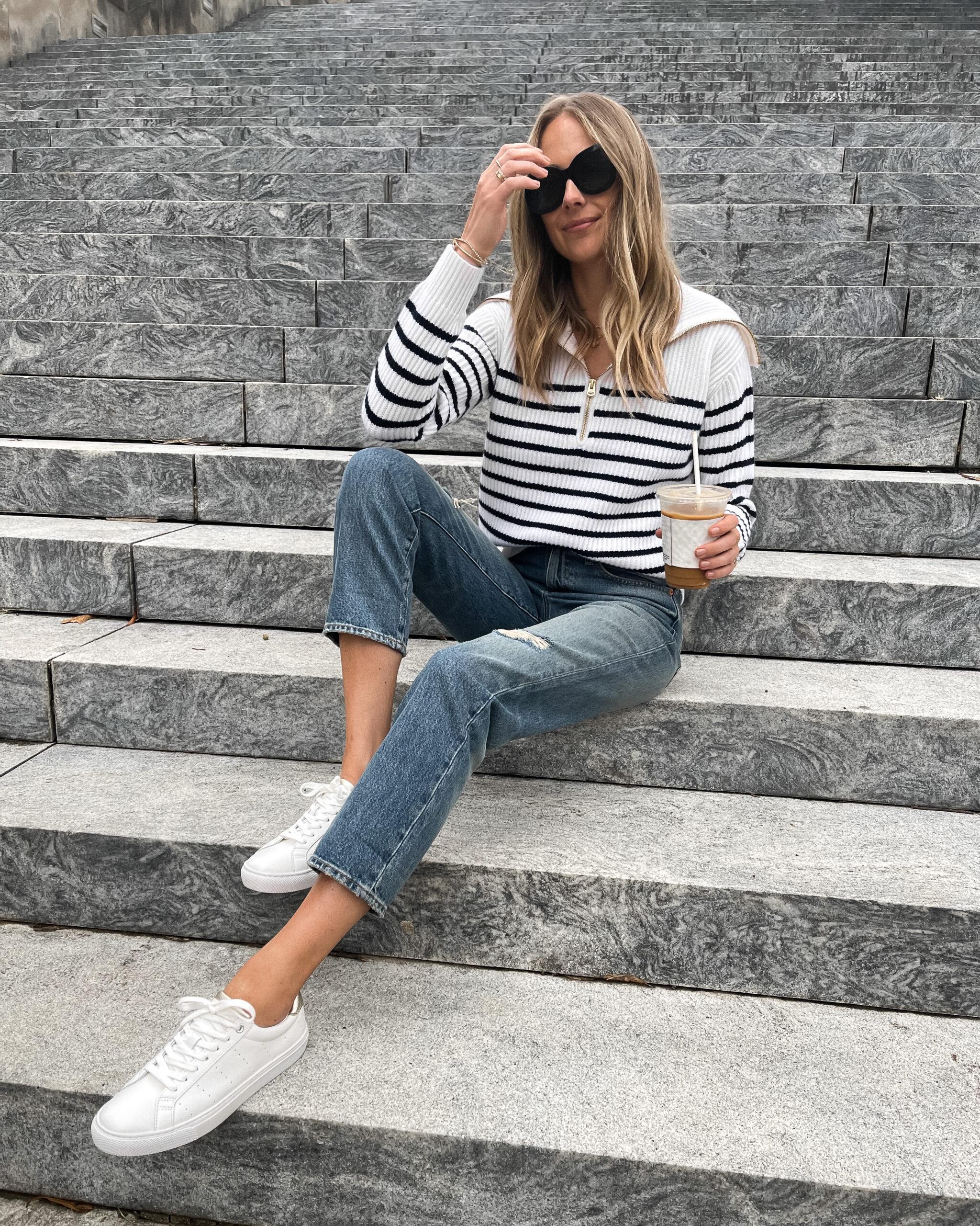Fashion Jackson Wearing Jcrew White Navy Striped Sweater Ripped Jeans White Sneakers