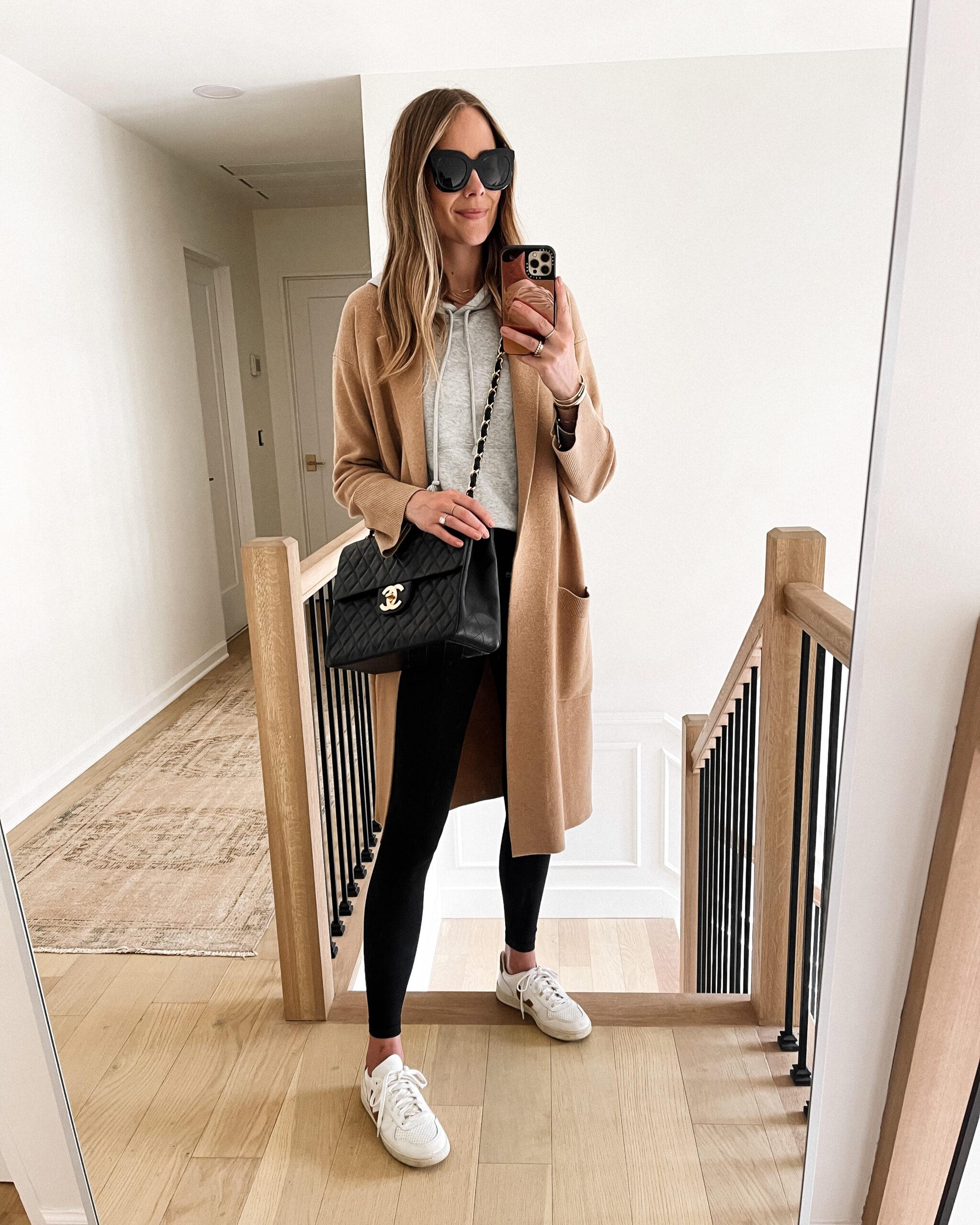 Fashion Jackson Wearing Camel Coatigan Grey Sweatshirt Black Leggings Veja V10 White Sneakers Chanel Jumbo Vintage Handbag