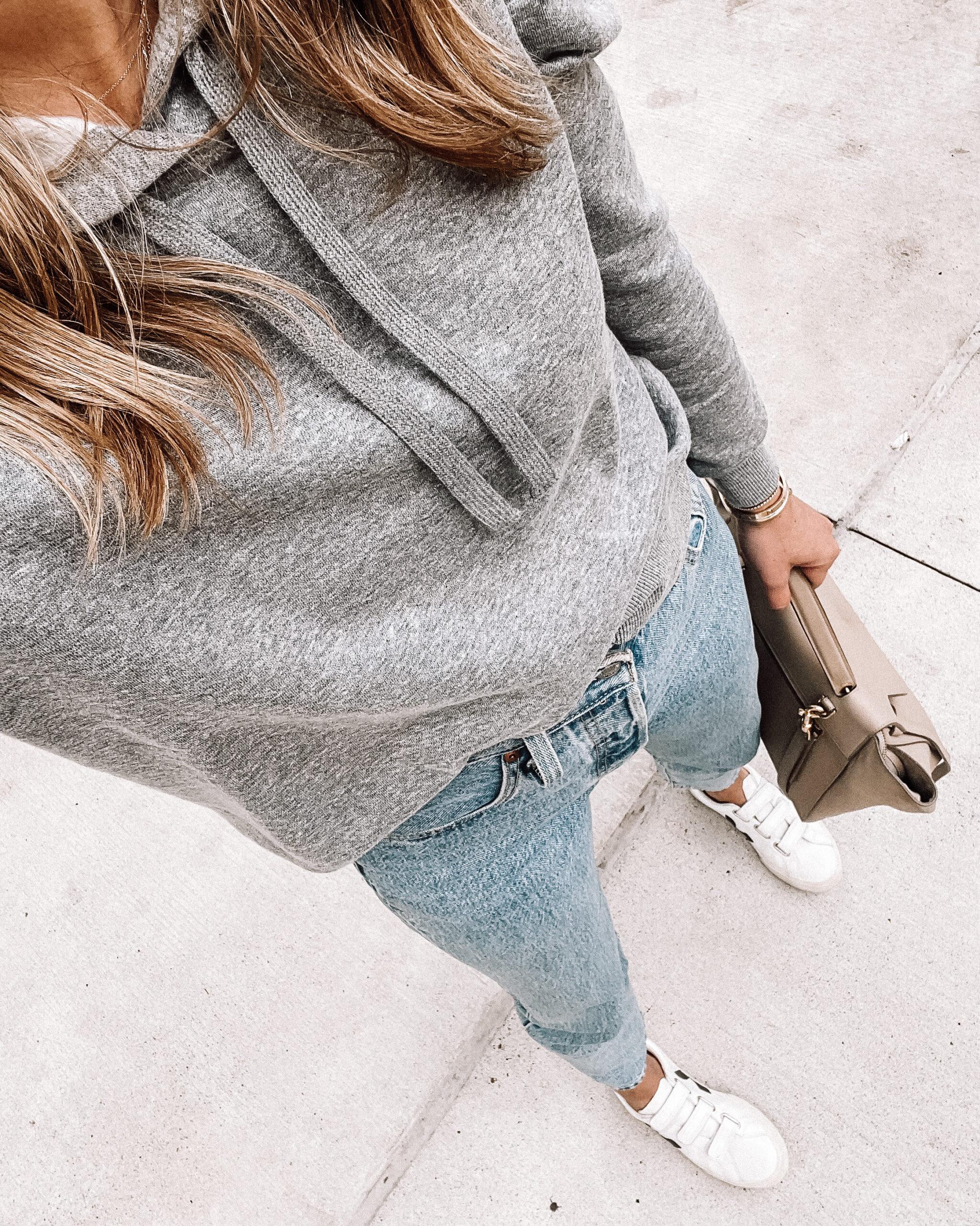 Fashion Jackson Wearing Grey Puff Sleeve Sweatshirt Levis Jeans Veja Velcro Sneakers
