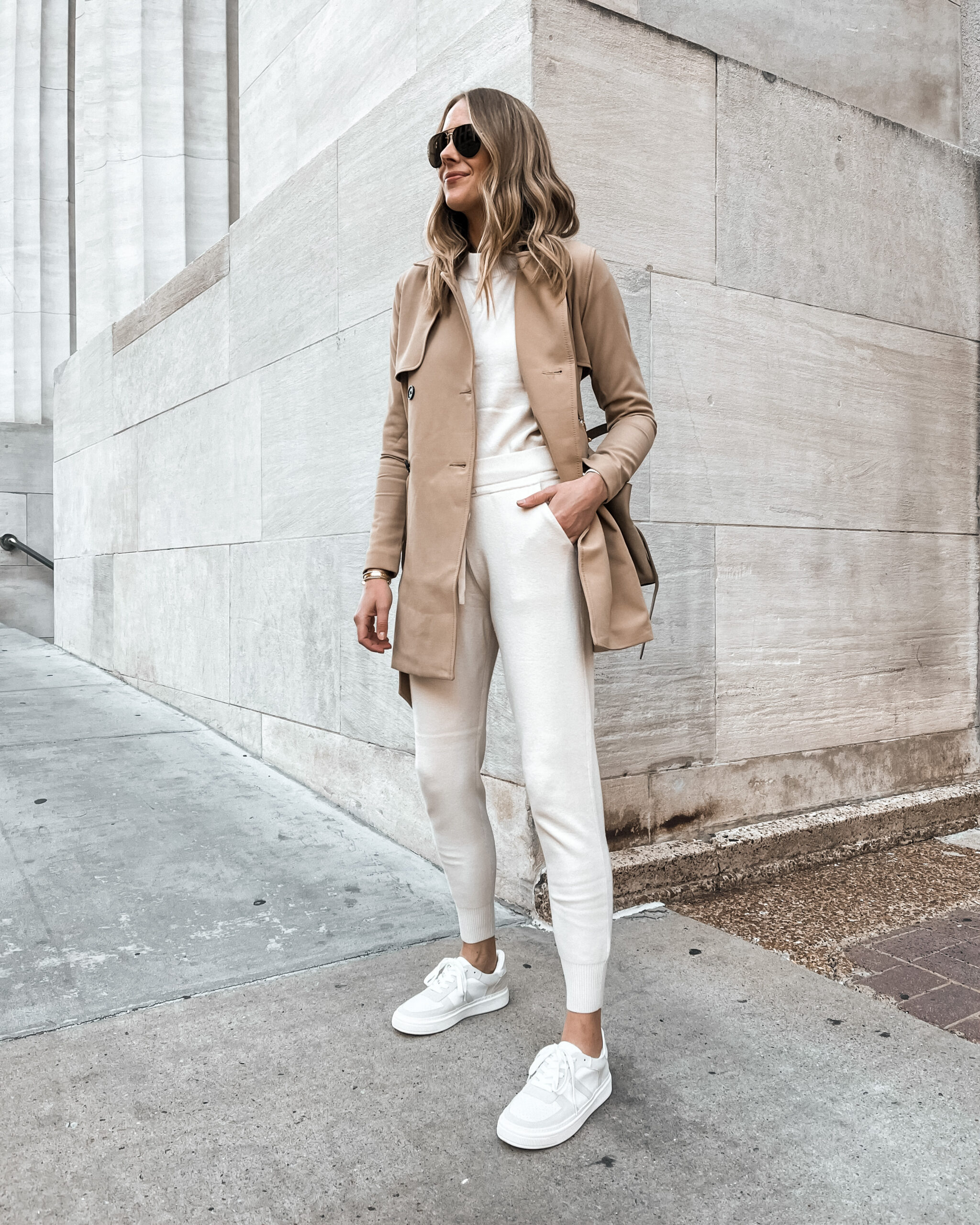 Fashion Jackson Wearing Abercombie Trench Coat Sweater Lounge Set White Sneakers Fall Weekend Outfit