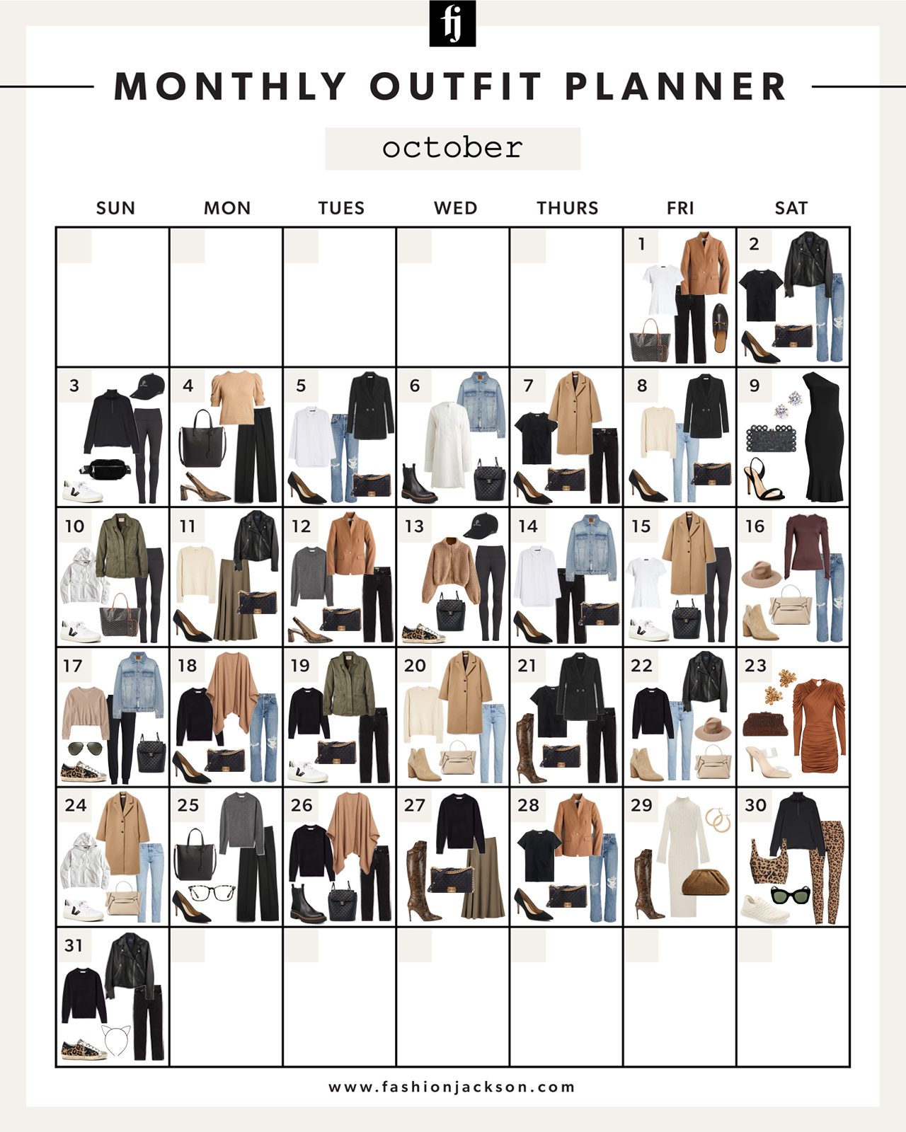 Monthly Outfit Planner October