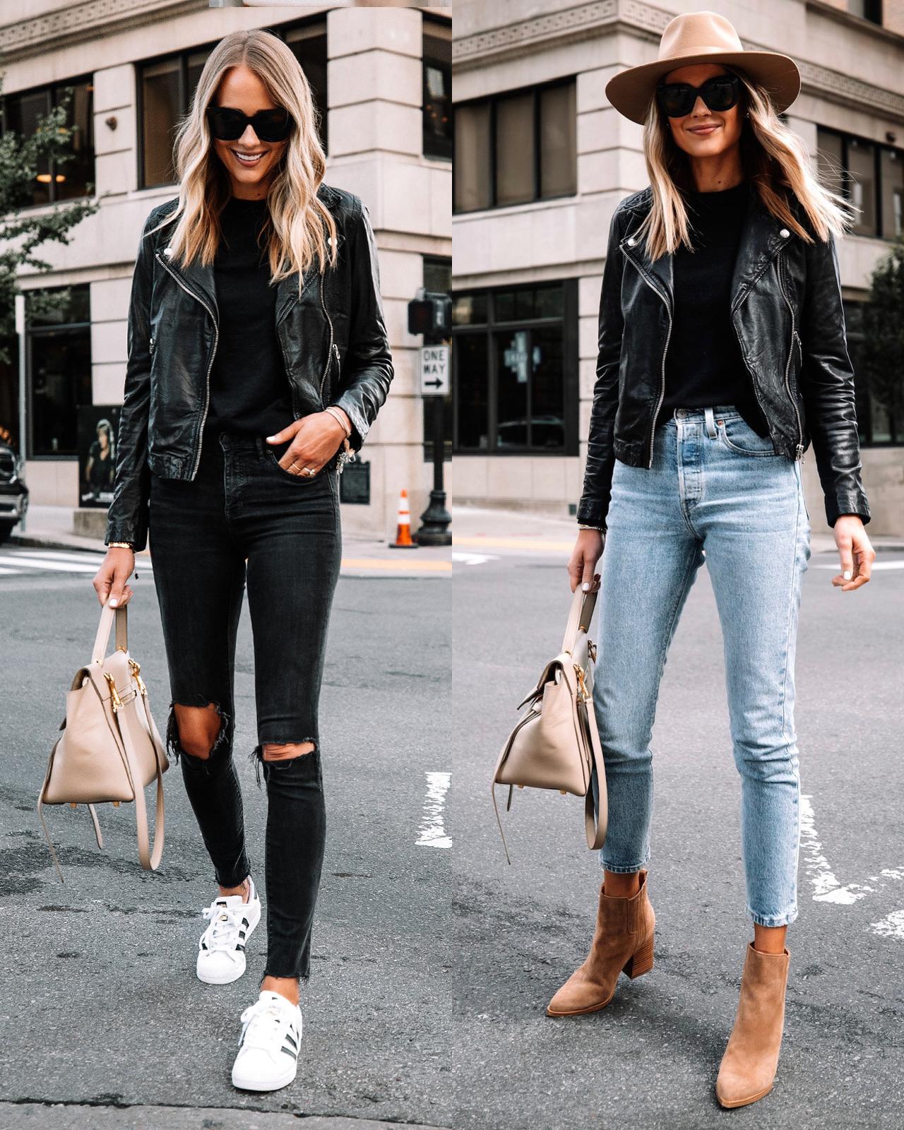Fashion Jackson Wearing Black Leather Jacket Fall Outfits