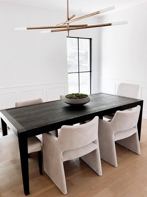 Fashion Jackson Black Dining Room Table Beige Velvet Dining Room Chairs Kelly Wearstler Light Fixture