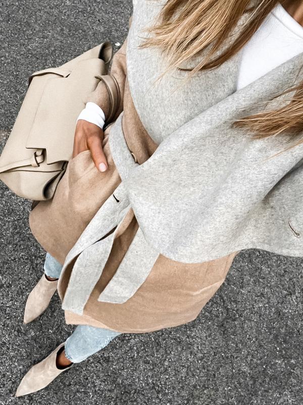 Fashion Jackson Wearing Amazon Fashion Camel Grey Wrap Coat 1