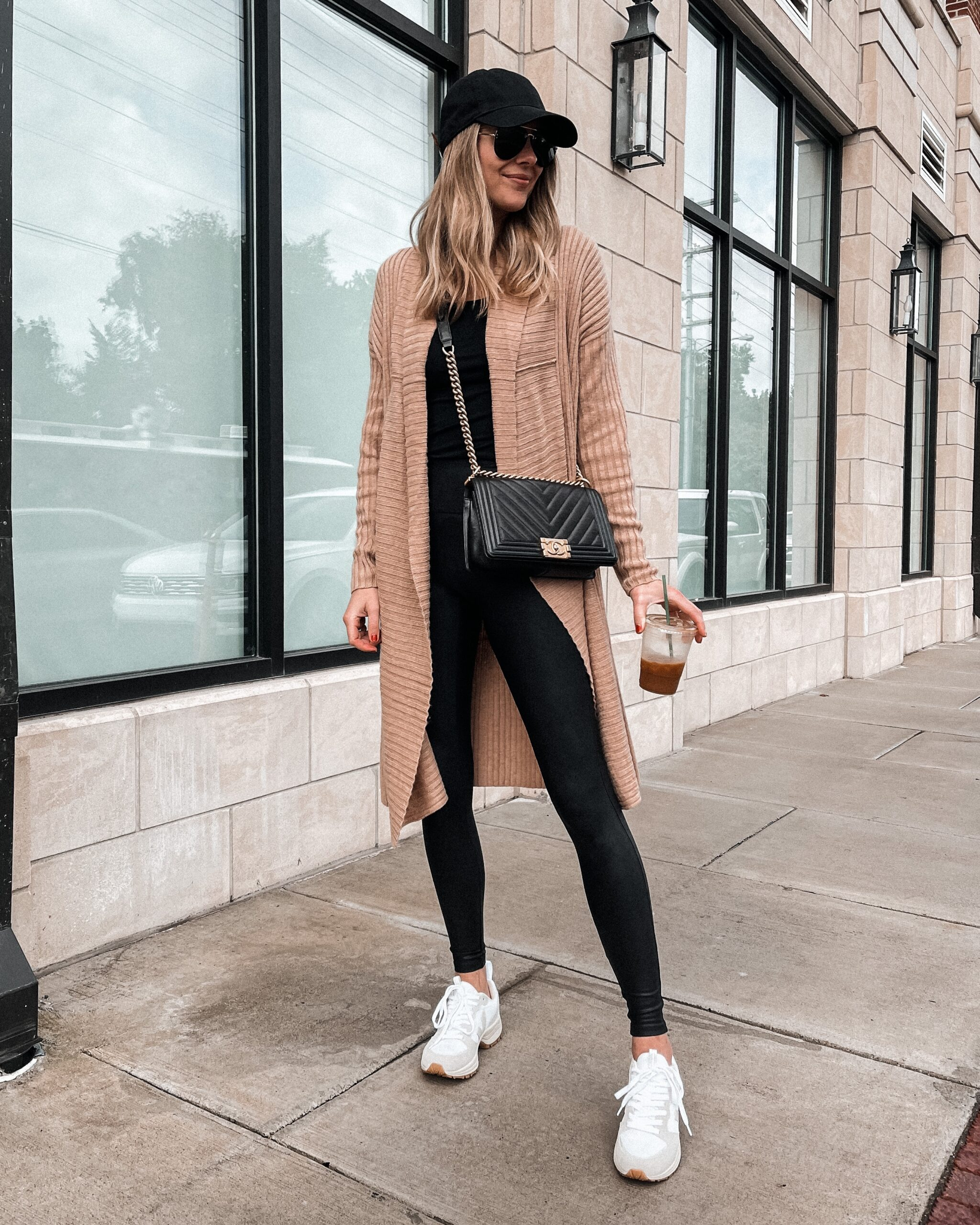 Fashion Jackson Wearing Amazon Fashion Long Camel Cardigan Black Leggings Veja Trainers Black Baseball Hat
