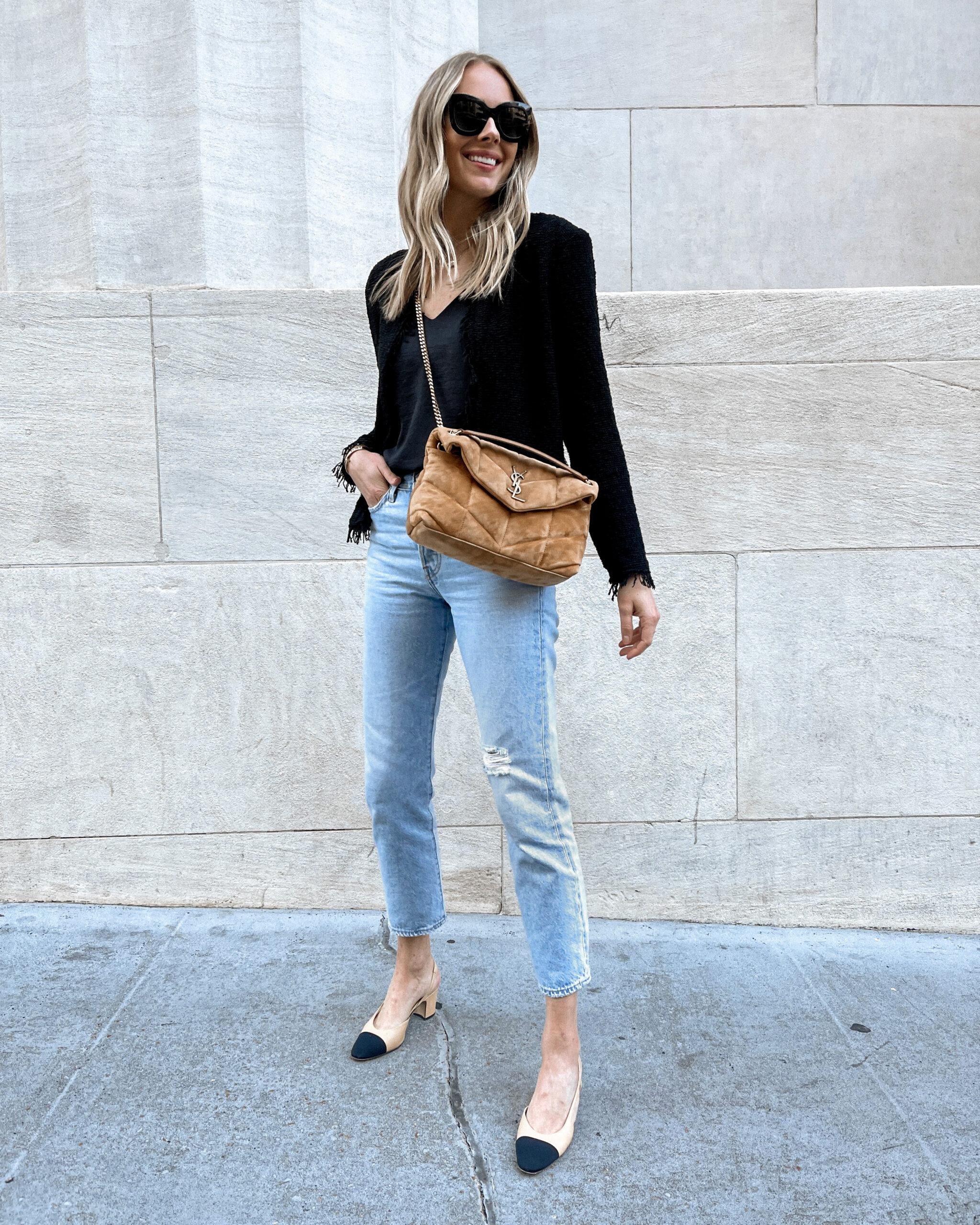 Fashion Jackson Wearing IRO Tweed Jacket Ripped Jeans Chanel Slingbacks Saint Laurent Loulou Tan Suede Handbag Fall Outfit