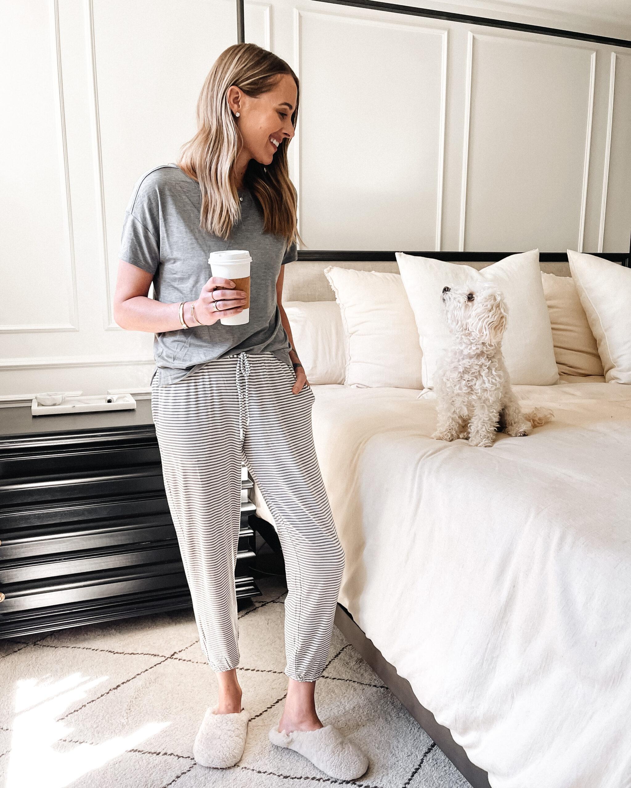 Fashion Jackson Wearing Soma Intimates Grey Pajamas